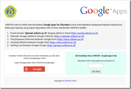 Acount UNIKOM Google Apps for Education 1